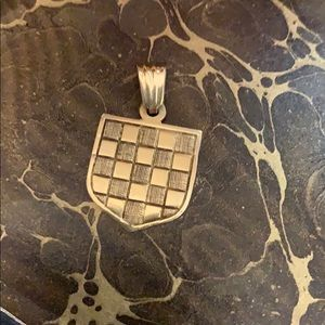 14kt. Gold Checkerboard charm pendant marked